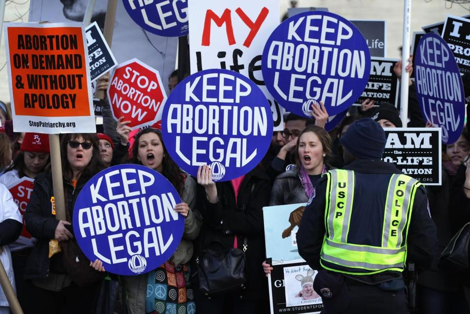Prochoice activists held a counterprotest Thursday, the anniversary of the court's 1973 ruling regarding a constitutional right to abortion.